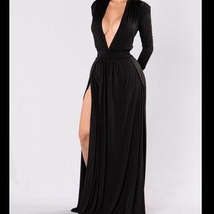 NWOT Black Maxi Double Slit Dress